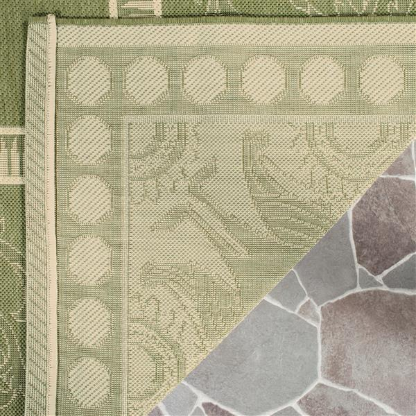 Safavieh Courtyard Rug - 2.3' x 10' - Polypropylene - Olive/Natural