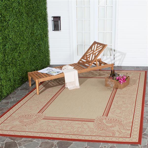 Safavieh Courtyard Rug - 2.6' x 5' - Polypropylene - Red/Natural