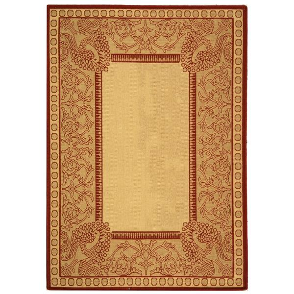 Safavieh Courtyard Rug - 5.3' x 7.6' - Polypropylene - Red/Natural