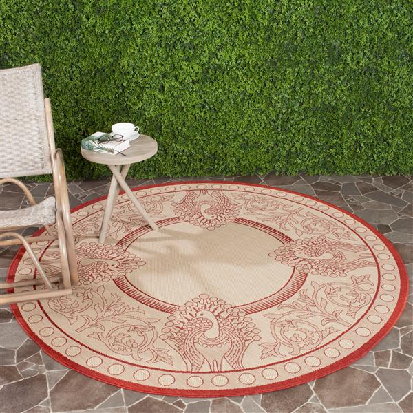 Safavieh Courtyard Rug - 5.3' x 5.3' - Polypropylene - Red/Natural