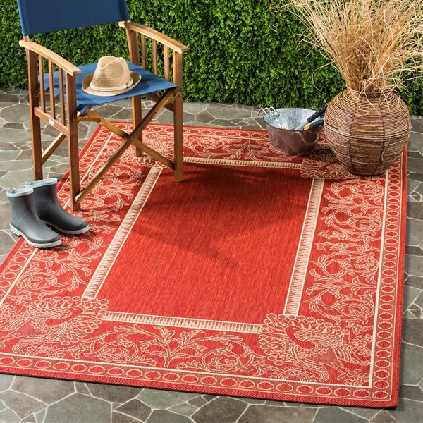 Safavieh Courtyard Rug - 2.6' x 5' - Polypropylene - Red/Natural