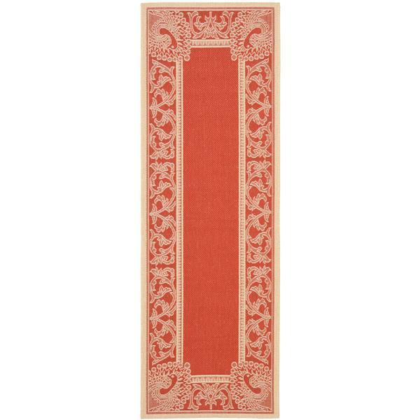 Safavieh Courtyard Rug - 2.3' x 6.6' - Polypropylene - Red/Natural