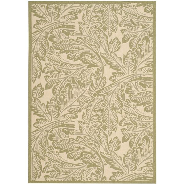 Safavieh Courtyard Rug - 5.3' x 7.6' - Polypropylene - Olive/Natural