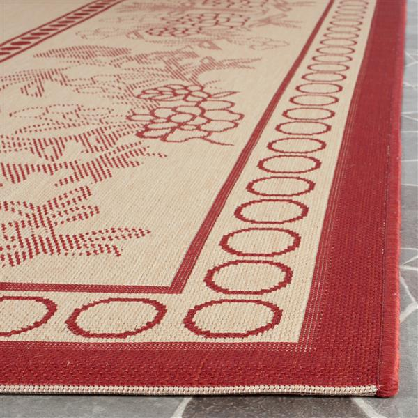 Safavieh Courtyard Rug - 5.3' x 7.6' - Polypropylene - Red/Natural