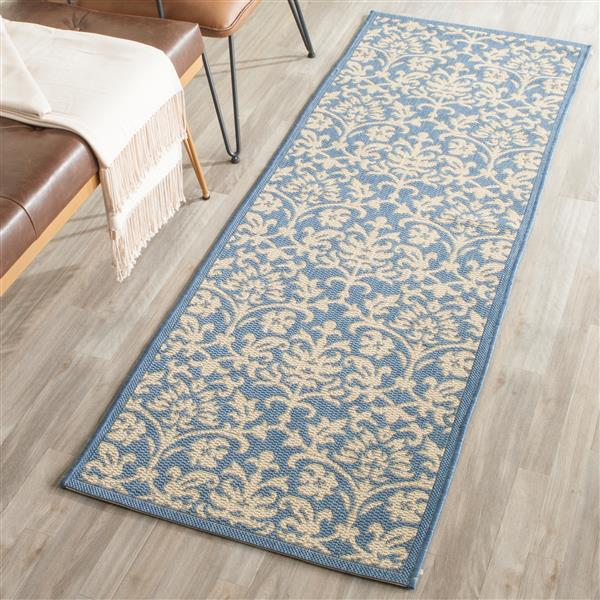 Safavieh Courtyard Rug - 2.3' x 10' - Polypropylene - Blue/Natural