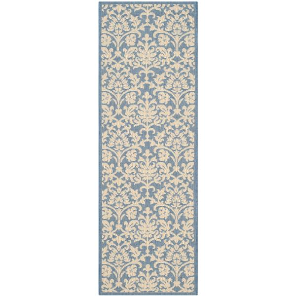 Safavieh Courtyard Rug - 2.3' x 10' - Polypropylene - Blue/Natural