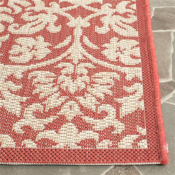 Safavieh Courtyard Rug - 4' x 5.6' - Polypropylene - Red/Natural