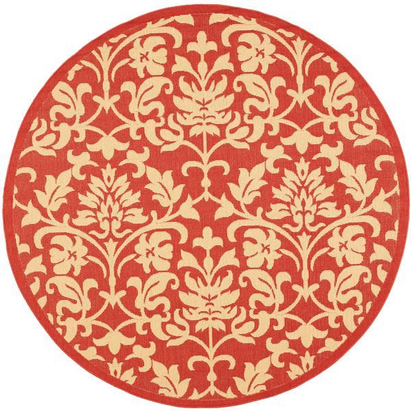 Safavieh Courtyard Damask Rug - 5.3' x 5.3' - Polypropylene - Red