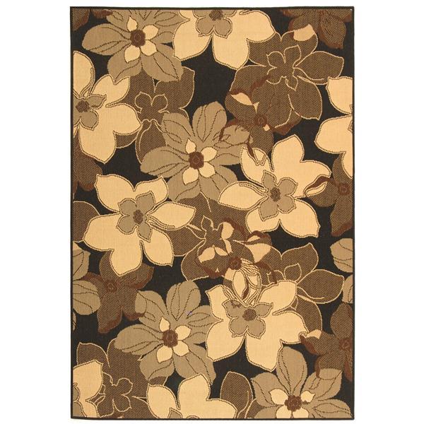 Safavieh Courtyard Rug - 5.3' x 7.6' - Polypropylene - Black/Brown