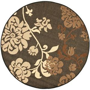 Safavieh Courtyard Rug - 5.3' x 5.3' - Polypropylene - Black/Brown