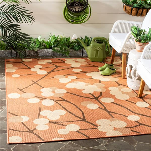 Safavieh Courtyard Rug - 2.6' x 5' - Polypropylene - Terracotta/Brown