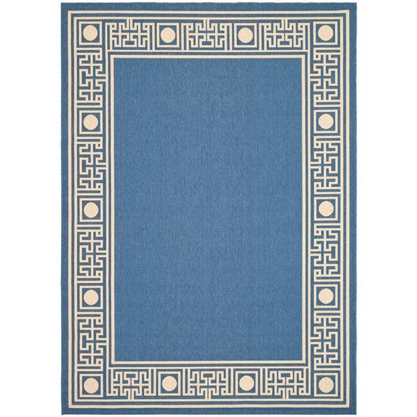 Safavieh Courtyard Rug - 2.6' x 5' - Polypropylene - Blue/Beige