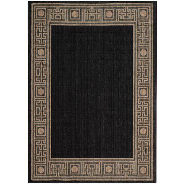 Safavieh Courtyard Rug - 5.3' x 7.6' - Polypropylene - Black/Coffee