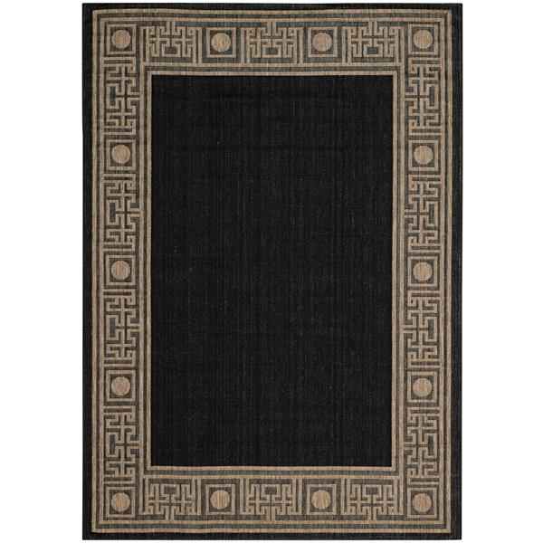 Safavieh Courtyard Rug - 4' x 5.6' - Polypropylene - Black/Coffee