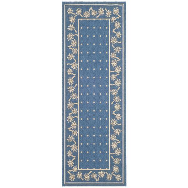 Safavieh Courtyard Rug - 2.6' x 8.2' - Polypropylene - Blue/Ivory