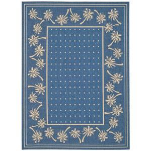 Safavieh Courtyard Rug - 5.3' x 7.6' - Polypropylene - Blue/Ivory