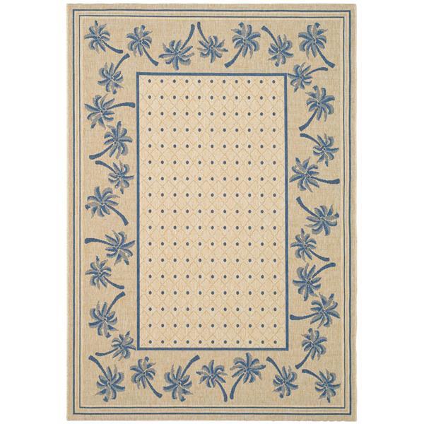 Safavieh Courtyard Rug - 4' x 5.6' - Polypropylene - Ivory/Blue