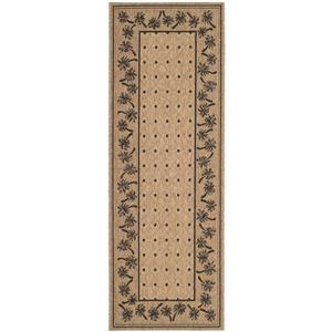 Safavieh Courtyard Rug - 2.3' x 6.6' - Polypropylene - Coffee/Black