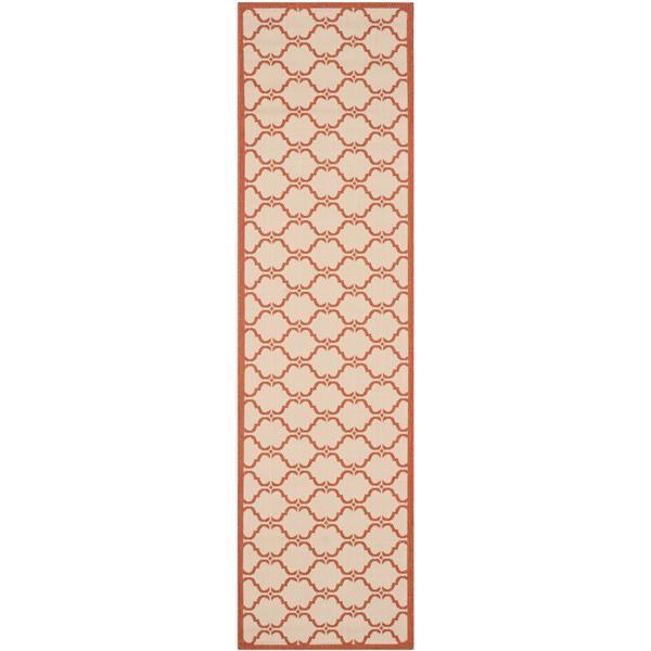 Safavieh Courtyard Rug - 2.3' x 8' - Polypropylene - Beige/Terracotta