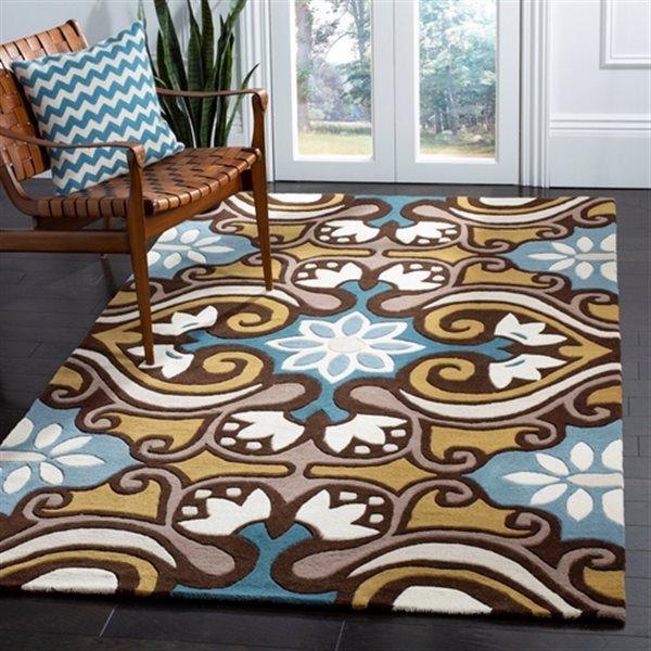Safavieh Wyndham Floral Rug - 8.8' x 12' - Wool - Blue