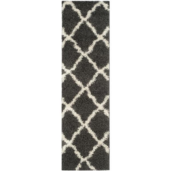 Safavieh Dallas Trellis Rug - 2.3' x 8' - Polypropylene - Dark Gray