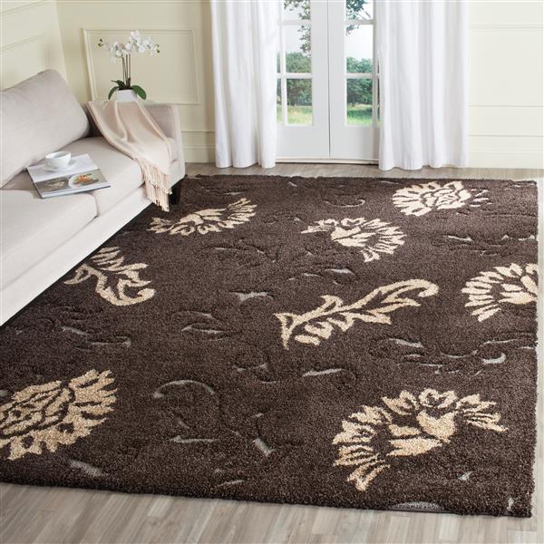Safavieh Florida Floral Rug - 4' x 6' - Synthetic - Dark Brown