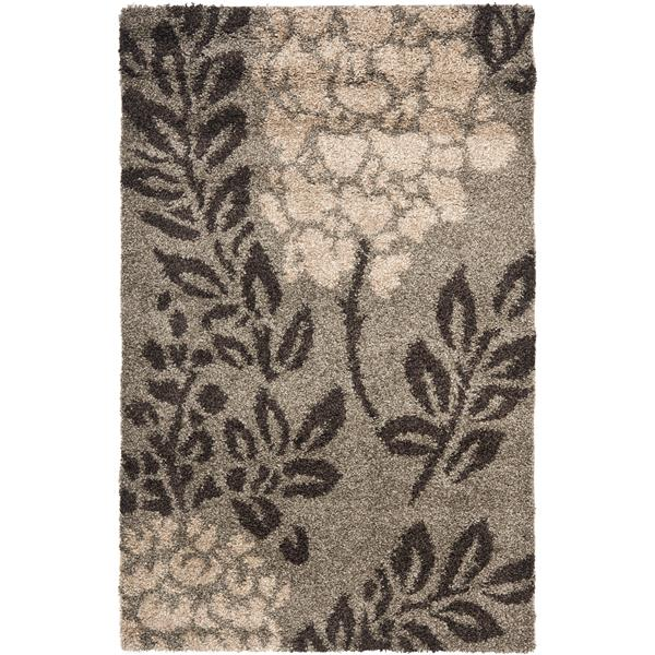 Safavieh Florida Floral Rug - 3.3' x 5.3' - Synthetic - Dark Brown