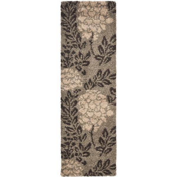 Safavieh Florida Floral Rug - 2.3' x 7' - Synthetic - Dark Brown