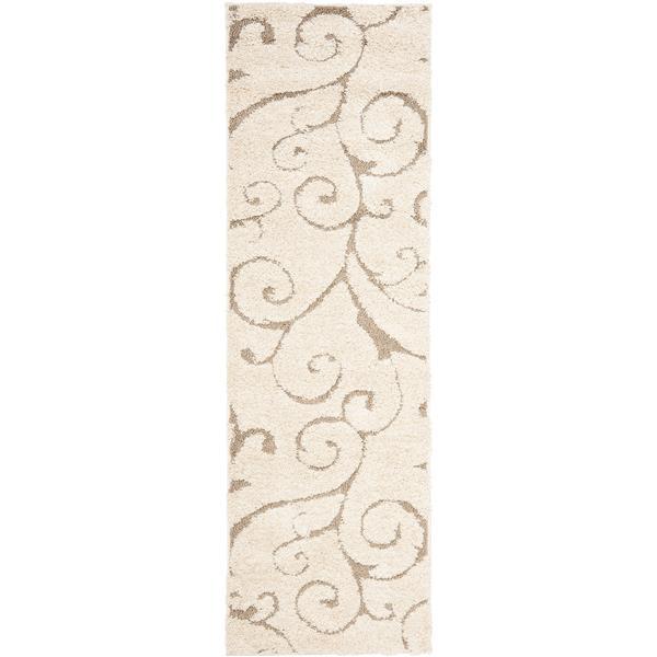 Safavieh Florida Floral Rug - 2.3' x 7' - Synthetic - Cream