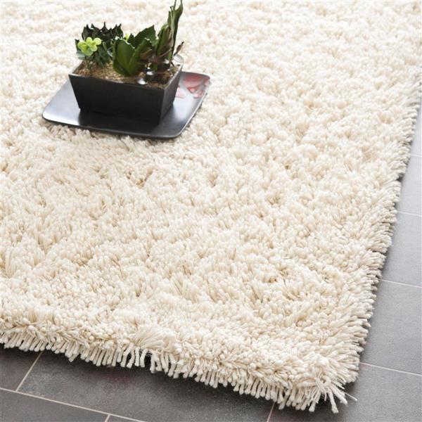 Safavieh Shag Solid Rug - 2.3' x 8' - Polyester - Ivory