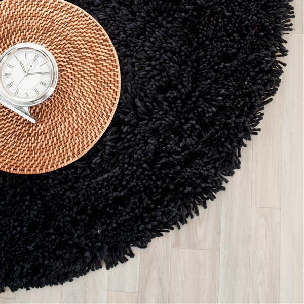 Safavieh Shag Solid Rug - 4' x 4' - Polyester - Black