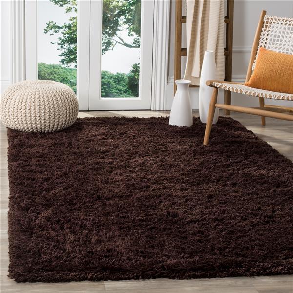 Safavieh Shag Solid Rug - 2.5' x 4' - Polyester - Brown