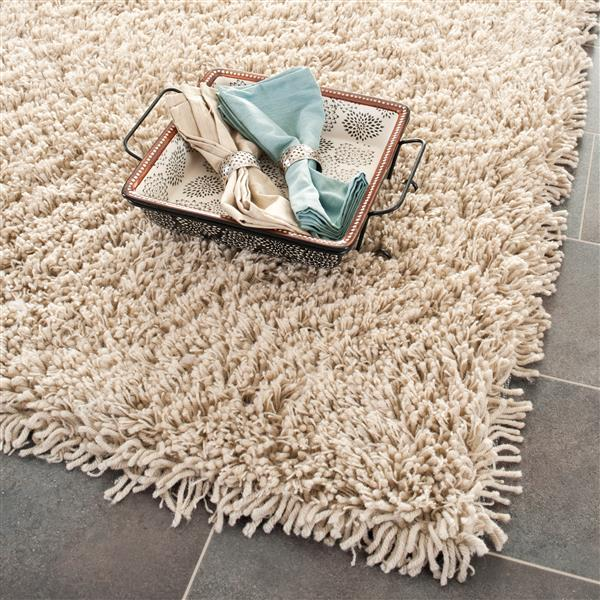 Safavieh Shag Solid Rug - 2.3' x 8' - Polyester - Taupe