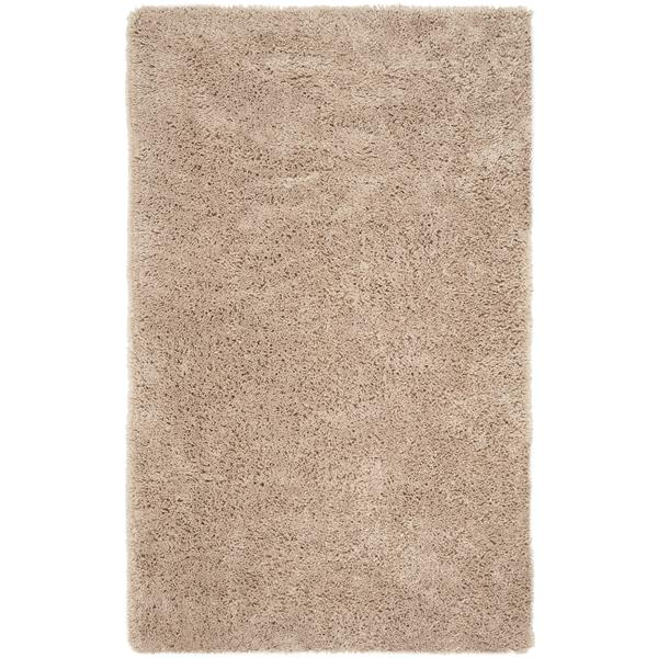 Safavieh Shag Solid Rug - 3' x 5' - Polyester - Taupe