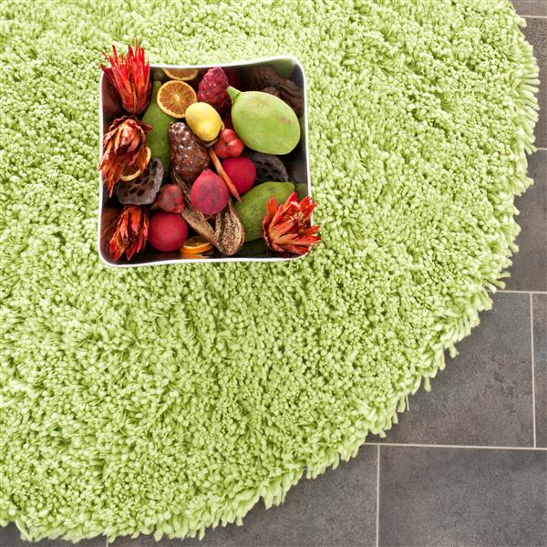 Safavieh Shag Solid Rug - 4' x 4' - Polyester - Green