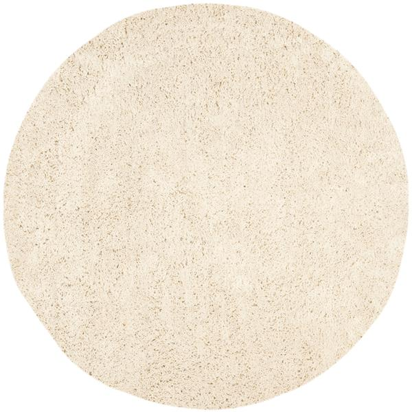 Safavieh Shag Solid Rug - 4' x 4' - Polyester - Ivory