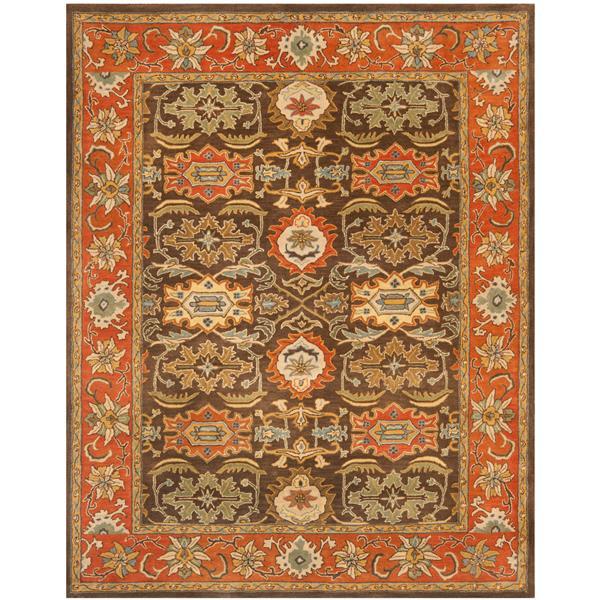 Safavieh Heritage Floral Rug - 8.3' x 11' - Wool - Brown