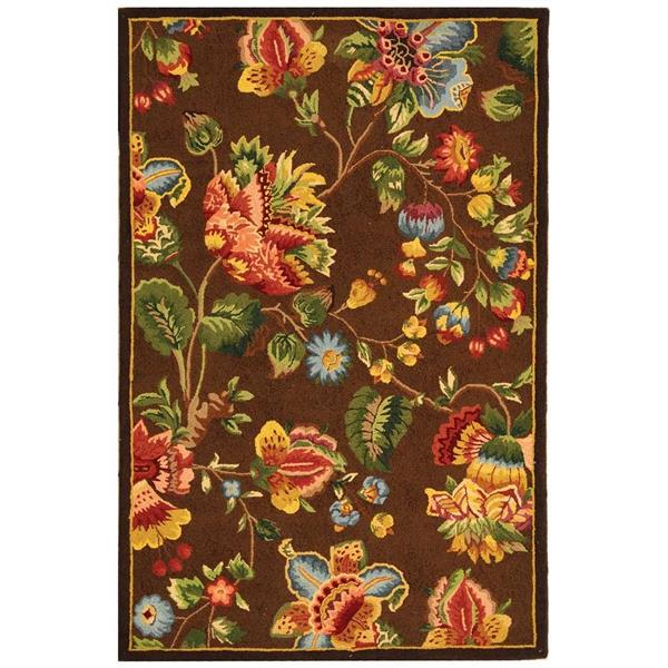 Safavieh Chelsea Floral Rug - 8.8' x 11.8' - Wool - Brown