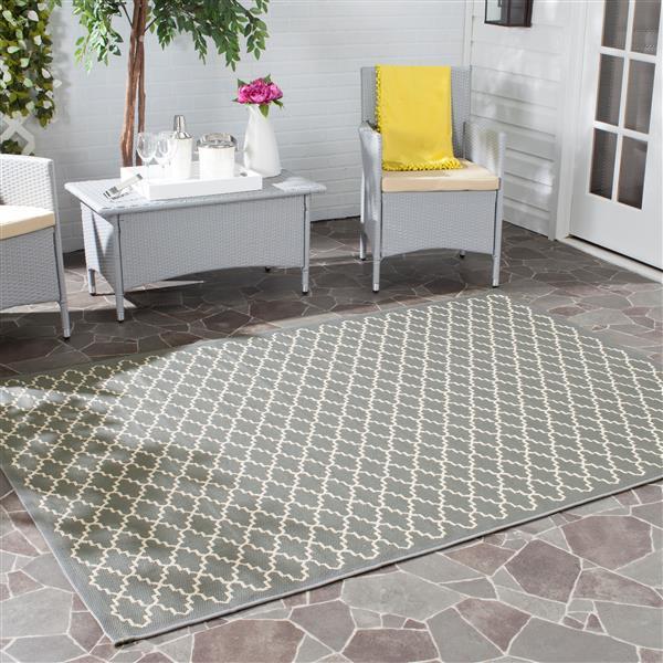 Safavieh Courtyard Rug - 4' x 5.6' - Polypropylene - Anthracite/Beige