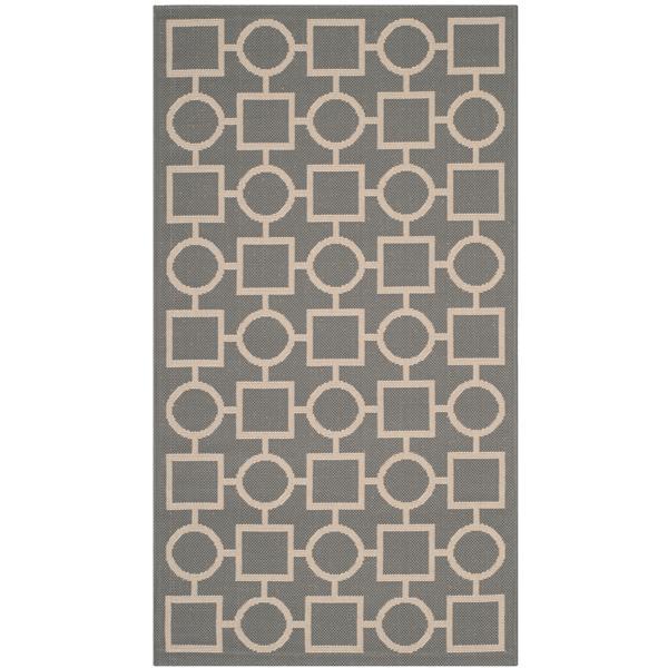 Safavieh Courtyard Rug - 2.6' x 5' - Polypropylene - Anthracite/Beige