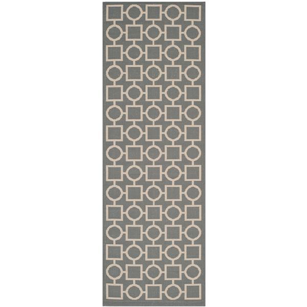 Safavieh Courtyard Rug - 2.3' x 6.6' - Polypropylene - Anthracite