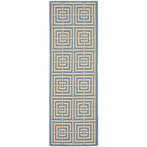 Safavieh Courtyard Rug - 2.3' x 6.6' - Polypropylene - Blue/Ivory