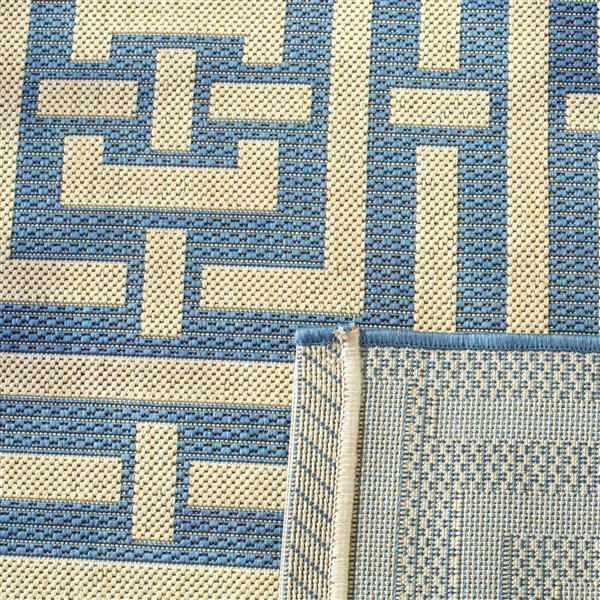 Safavieh Courtyard Rug - 4' x 5.6' - Polypropylene - Blue/Ivory