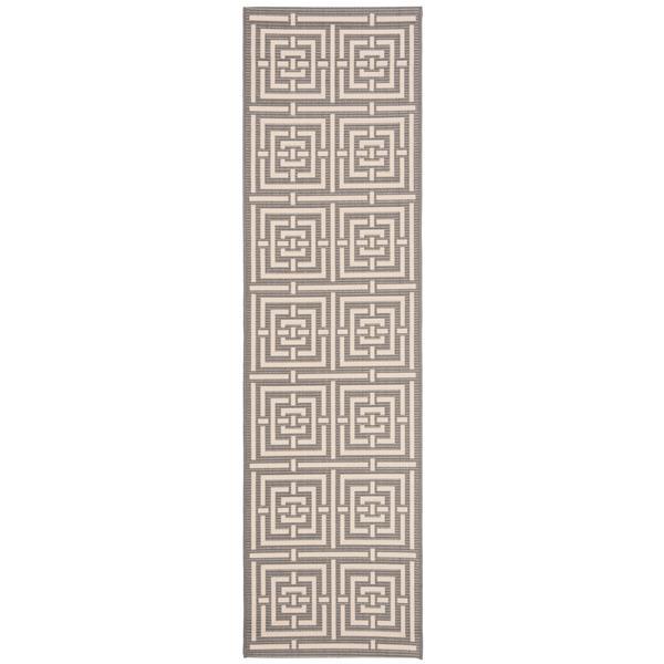 Safavieh Courtyard Rug - 2.3' x 16' - Polypropylene - Gray/Cream