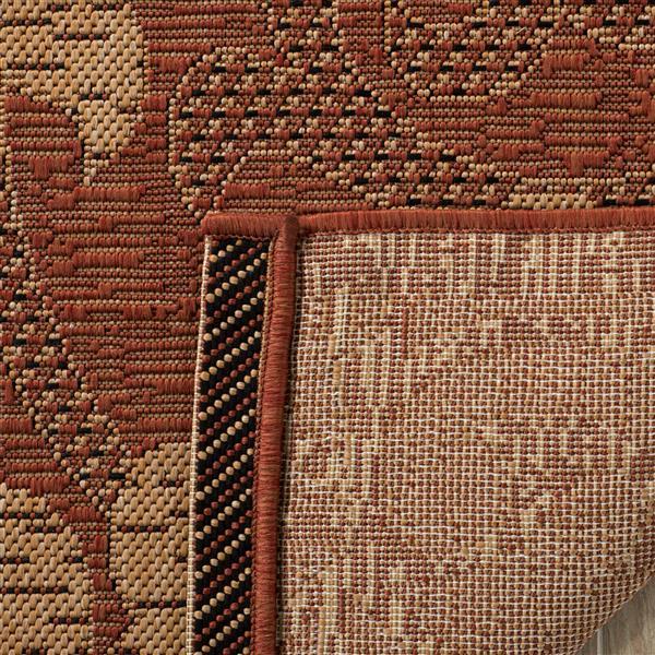 Safavieh Courtyard Rug - 4' x 5.6' - Polypropylene - Brick/Natural