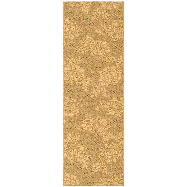Safavieh Courtyard Rug - 2.3' x 6.6' - Polypropylene - Gold/Natural