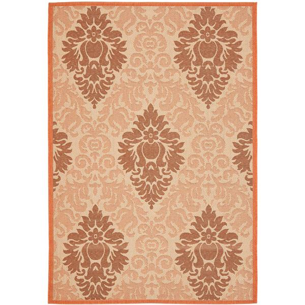 Safavieh Courtyard Rug - 4' x 5.6' - Polypropylene - Cream/Terracotta