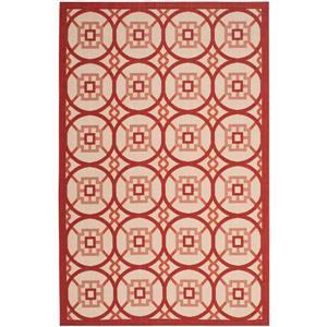 Courtyard Rug - 5.3' x 7.6' - Polypropylene - Beige/Red