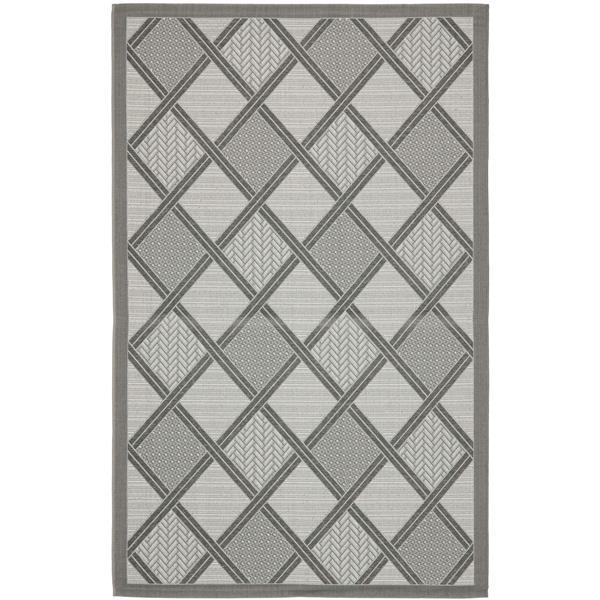 Safavieh Courtyard Rug - 5.3' x 7.6' - Polypropylene - Light Gray