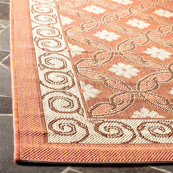 Safavieh Courtyard Rug - 4' x 5.6' - Polypropylene - Terracotta/Cream